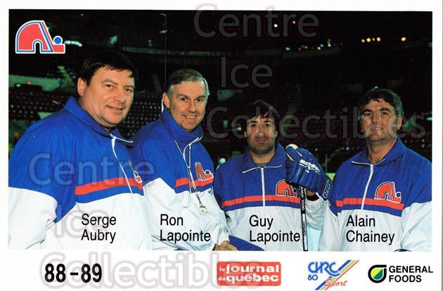 1988-89 Quebec Nordiques General Foods #36 Serge Aubry, Ron Lapointe, Guy Lapointe<br/>2 In Stock - $3.00 each - <a href=https://centericecollectibles.foxycart.com/cart?name=1988-89%20Quebec%20Nordiques%20General%20Foods%20%2336%20Serge%20Aubry,%20Ro...&quantity_max=2&price=$3.00&code=23286 class=foxycart> Buy it now! </a>
