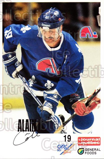 1988-89 Quebec Nordiques General Foods #5 Alain Cote<br/>4 In Stock - $3.00 each - <a href=https://centericecollectibles.foxycart.com/cart?name=1988-89%20Quebec%20Nordiques%20General%20Foods%20%235%20Alain%20Cote...&quantity_max=4&price=$3.00&code=23287 class=foxycart> Buy it now! </a>