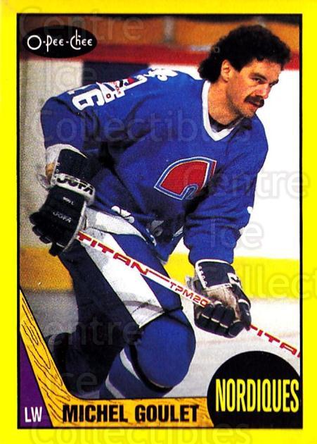 1987-88 O-Pee-Chee Box Bottoms #M Michel Goulet<br/>2 In Stock - $2.00 each - <a href=https://centericecollectibles.foxycart.com/cart?name=1987-88%20O-Pee-Chee%20Box%20Bottoms%20%23M%20Michel%20Goulet...&price=$2.00&code=23522 class=foxycart> Buy it now! </a>