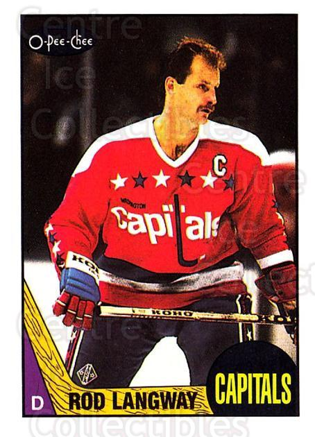 1987-88 O-Pee-Chee #108 Rod Langway<br/>9 In Stock - $1.00 each - <a href=https://centericecollectibles.foxycart.com/cart?name=1987-88%20O-Pee-Chee%20%23108%20Rod%20Langway...&quantity_max=9&price=$1.00&code=23716 class=foxycart> Buy it now! </a>