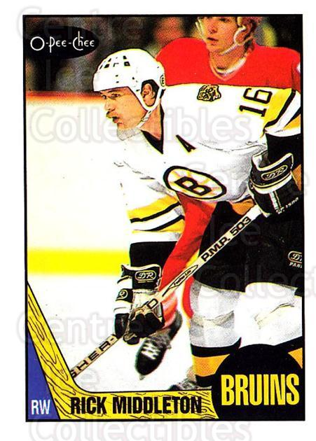 1987-88 O-Pee-Chee #115 Rick Middleton<br/>8 In Stock - $1.00 each - <a href=https://centericecollectibles.foxycart.com/cart?name=1987-88%20O-Pee-Chee%20%23115%20Rick%20Middleton...&quantity_max=8&price=$1.00&code=23724 class=foxycart> Buy it now! </a>