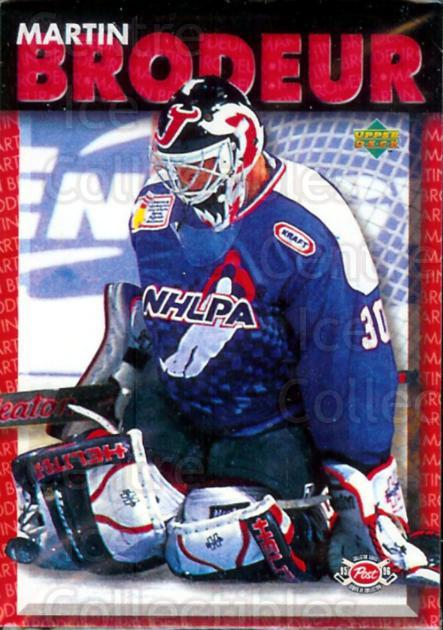 1995-96 Post Cereal Upper Deck #2 Martin Brodeur<br/>4 In Stock - $2.00 each - <a href=https://centericecollectibles.foxycart.com/cart?name=1995-96%20Post%20Cereal%20Upper%20Deck%20%232%20Martin%20Brodeur...&price=$2.00&code=238564 class=foxycart> Buy it now! </a>