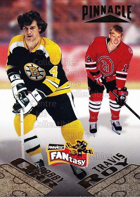 1995-96 Pinnacle Fantasy #31 Bobby Orr, Travis Roy<br/>4 In Stock - $5.00 each - <a href=https://centericecollectibles.foxycart.com/cart?name=1995-96%20Pinnacle%20Fantasy%20%2331%20Bobby%20Orr,%20Trav...&price=$5.00&code=238609 class=foxycart> Buy it now! </a>