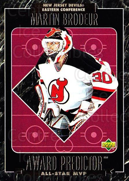1995-96 Upper Deck Predictor AS Game Redemption #MVPR29 Martin Brodeur<br/>2 In Stock - $40.00 each - <a href=https://centericecollectibles.foxycart.com/cart?name=1995-96%20Upper%20Deck%20Predictor%20AS%20Game%20Redemption%20%23MVPR29%20Martin%20Brodeur...&price=$40.00&code=238650 class=foxycart> Buy it now! </a>