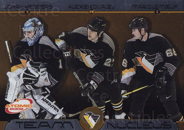 2001-02 Atomic Team Nucleus #11 Johan Hedberg, Alexei Kovalev, Mario Lemieux<br/>3 In Stock - $5.00 each - <a href=https://centericecollectibles.foxycart.com/cart?name=2001-02%20Atomic%20Team%20Nucleus%20%2311%20Johan%20Hedberg,%20...&quantity_max=3&price=$5.00&code=238901 class=foxycart> Buy it now! </a>