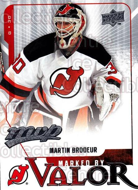 2008-09 Upper Deck MVP Marked By Valor #1 Martin Brodeur<br/>3 In Stock - $2.00 each - <a href=https://centericecollectibles.foxycart.com/cart?name=2008-09%20Upper%20Deck%20MVP%20Marked%20By%20Valor%20%231%20Martin%20Brodeur...&quantity_max=3&price=$2.00&code=239043 class=foxycart> Buy it now! </a>