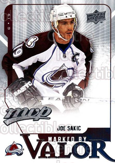 2008-09 Upper Deck MVP Marked By Valor #2 Joe Sakic<br/>3 In Stock - $2.00 each - <a href=https://centericecollectibles.foxycart.com/cart?name=2008-09%20Upper%20Deck%20MVP%20Marked%20By%20Valor%20%232%20Joe%20Sakic...&quantity_max=3&price=$2.00&code=239044 class=foxycart> Buy it now! </a>