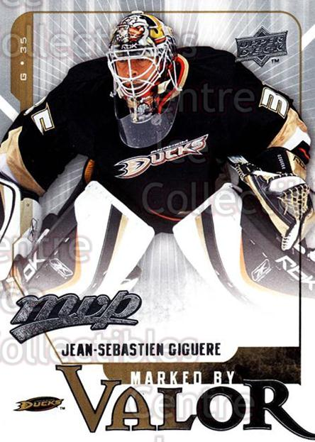 2008-09 Upper Deck MVP Marked By Valor #5 Jean-Sebastien Giguere<br/>3 In Stock - $2.00 each - <a href=https://centericecollectibles.foxycart.com/cart?name=2008-09%20Upper%20Deck%20MVP%20Marked%20By%20Valor%20%235%20Jean-Sebastien%20...&quantity_max=3&price=$2.00&code=239047 class=foxycart> Buy it now! </a>