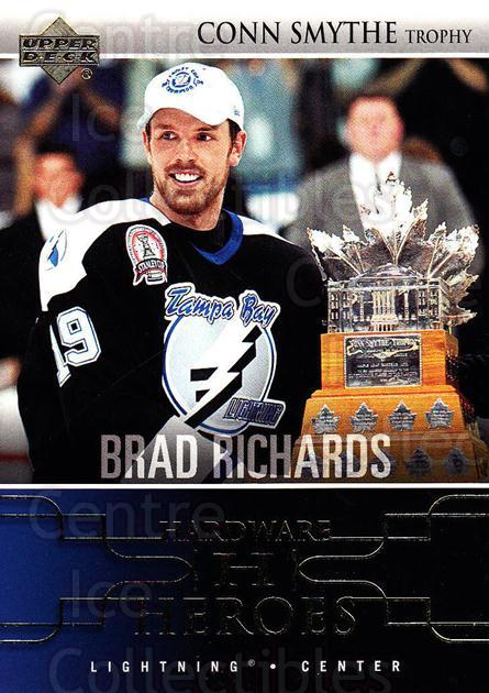 2004-05 Upper Deck Hardware Heroes #3 Brad Richards, Conn Smythe Trophy<br/>1 In Stock - $3.00 each - <a href=https://centericecollectibles.foxycart.com/cart?name=2004-05%20Upper%20Deck%20Hardware%20Heroes%20%233%20Brad%20Richards,%20...&quantity_max=1&price=$3.00&code=239075 class=foxycart> Buy it now! </a>