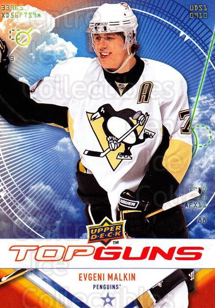 2009-10 Upper Deck Top Guns #3 Evgeni Malkin<br/>3 In Stock - $3.00 each - <a href=https://centericecollectibles.foxycart.com/cart?name=2009-10%20Upper%20Deck%20Top%20Guns%20%233%20Evgeni%20Malkin...&quantity_max=3&price=$3.00&code=239255 class=foxycart> Buy it now! </a>