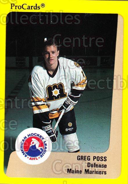 1989-90 ProCards AHL #61 Greg Poss<br/>3 In Stock - $2.00 each - <a href=https://centericecollectibles.foxycart.com/cart?name=1989-90%20ProCards%20AHL%20%2361%20Greg%20Poss...&price=$2.00&code=239314 class=foxycart> Buy it now! </a>