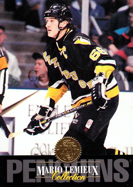 1993-94 Leaf Mario Lemieux #9 Mario Lemieux<br/>4 In Stock - $3.00 each - <a href=https://centericecollectibles.foxycart.com/cart?name=1993-94%20Leaf%20Mario%20Lemieux%20%239%20Mario%20Lemieux...&quantity_max=4&price=$3.00&code=239333 class=foxycart> Buy it now! </a>