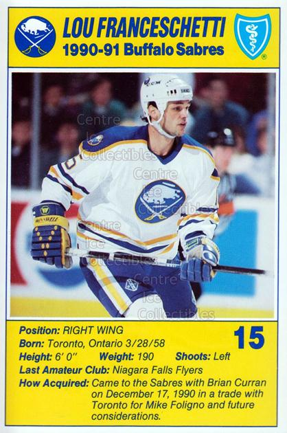 1990-91 Buffalo Sabres Blue Shield #6 Lou Franceschetti<br/>5 In Stock - $3.00 each - <a href=https://centericecollectibles.foxycart.com/cart?name=1990-91%20Buffalo%20Sabres%20Blue%20Shield%20%236%20Lou%20Franceschet...&quantity_max=5&price=$3.00&code=239439 class=foxycart> Buy it now! </a>
