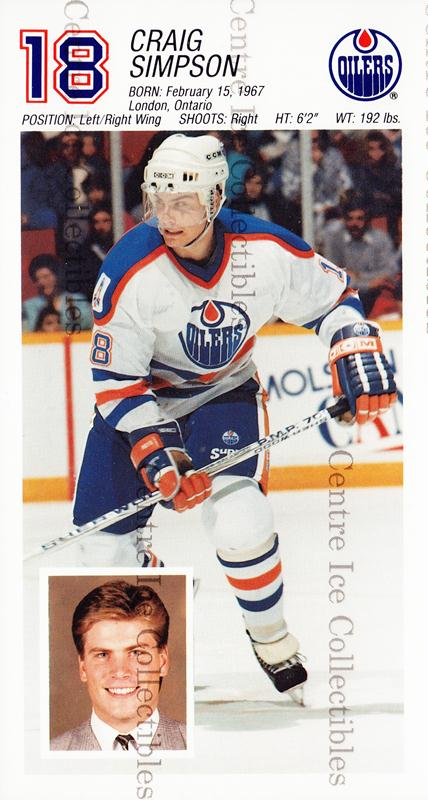 1988-89 Edmonton Oilers Team Issue #25 Craig Simpson<br/>1 In Stock - $3.00 each - <a href=https://centericecollectibles.foxycart.com/cart?name=1988-89%20Edmonton%20Oilers%20Team%20Issue%20%2325%20Craig%20Simpson...&quantity_max=1&price=$3.00&code=239567 class=foxycart> Buy it now! </a>