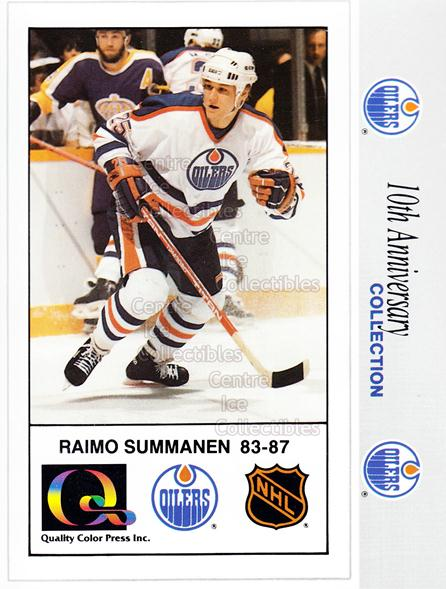 1988-89 Edmonton Oilers Tenth Anniversary #3 Raimo Summanen<br/>3 In Stock - $5.00 each - <a href=https://centericecollectibles.foxycart.com/cart?name=1988-89%20Edmonton%20Oilers%20Tenth%20Anniversary%20%233%20Raimo%20Summanen...&price=$5.00&code=239604 class=foxycart> Buy it now! </a>