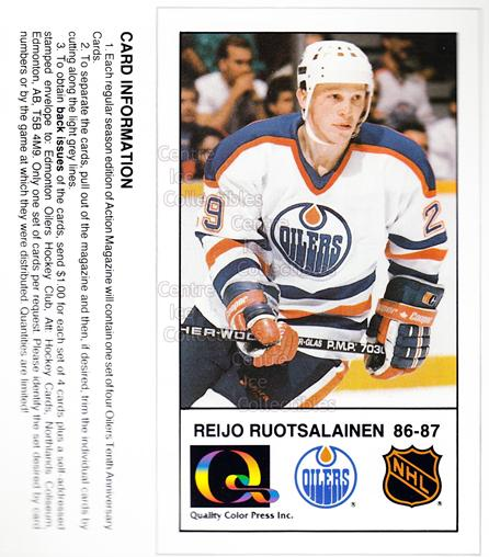 1988-89 Edmonton Oilers Tenth Anniversary #22 Reijo Ruotsalainen<br/>3 In Stock - $5.00 each - <a href=https://centericecollectibles.foxycart.com/cart?name=1988-89%20Edmonton%20Oilers%20Tenth%20Anniversary%20%2322%20Reijo%20Ruotsalai...&quantity_max=3&price=$5.00&code=239611 class=foxycart> Buy it now! </a>