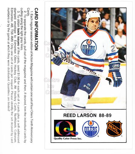 1988-89 Edmonton Oilers Tenth Anniversary #56 Reed Larson<br/>6 In Stock - $3.00 each - <a href=https://centericecollectibles.foxycart.com/cart?name=1988-89%20Edmonton%20Oilers%20Tenth%20Anniversary%20%2356%20Reed%20Larson...&quantity_max=6&price=$3.00&code=239623 class=foxycart> Buy it now! </a>