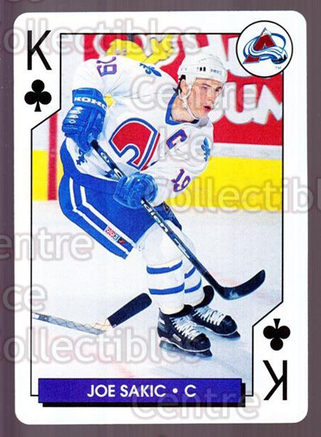 1995-96 NHL Aces Playing Cards #13 Joe Sakic<br/>8 In Stock - $2.00 each - <a href=https://centericecollectibles.foxycart.com/cart?name=1995-96%20NHL%20Aces%20Playing%20Cards%20%2313%20Joe%20Sakic...&price=$2.00&code=240154 class=foxycart> Buy it now! </a>
