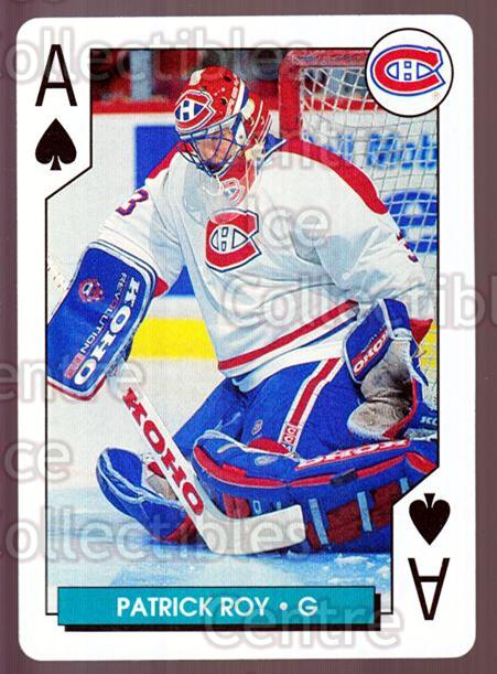 1995-96 NHL Aces Playing Cards #40 Patrick Roy<br/>1 In Stock - $3.00 each - <a href=https://centericecollectibles.foxycart.com/cart?name=1995-96%20NHL%20Aces%20Playing%20Cards%20%2340%20Patrick%20Roy...&price=$3.00&code=240162 class=foxycart> Buy it now! </a>