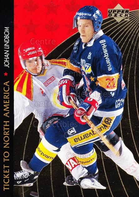 1995-96 Swedish Upper Deck Ticket to North America #12 Johan Lindbom<br/>3 In Stock - $2.00 each - <a href=https://centericecollectibles.foxycart.com/cart?name=1995-96%20Swedish%20Upper%20Deck%20Ticket%20to%20North%20America%20%2312%20Johan%20Lindbom...&price=$2.00&code=240335 class=foxycart> Buy it now! </a>