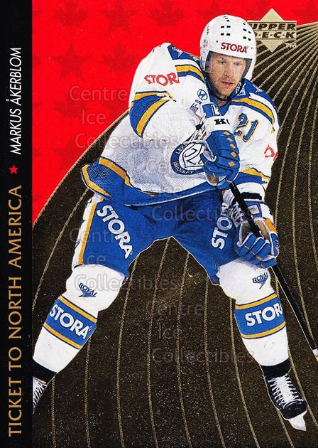 1995-96 Swedish Upper Deck Ticket to North America #13 Markus Akerblom<br/>1 In Stock - $2.00 each - <a href=https://centericecollectibles.foxycart.com/cart?name=1995-96%20Swedish%20Upper%20Deck%20Ticket%20to%20North%20America%20%2313%20Markus%20Akerblom...&quantity_max=1&price=$2.00&code=240336 class=foxycart> Buy it now! </a>
