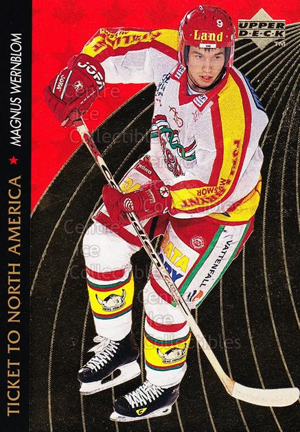 1995-96 Swedish Upper Deck Ticket to North America #20 Magnus Wernblom<br/>3 In Stock - $2.00 each - <a href=https://centericecollectibles.foxycart.com/cart?name=1995-96%20Swedish%20Upper%20Deck%20Ticket%20to%20North%20America%20%2320%20Magnus%20Wernblom...&quantity_max=3&price=$2.00&code=240340 class=foxycart> Buy it now! </a>