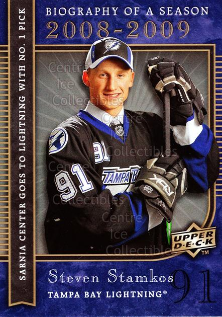 2008-09 Upper Deck Biography of a Season #4 Steven Stamkos<br/>27 In Stock - $2.00 each - <a href=https://centericecollectibles.foxycart.com/cart?name=2008-09%20Upper%20Deck%20Biography%20of%20a%20Season%20%234%20Steven%20Stamkos...&price=$2.00&code=241041 class=foxycart> Buy it now! </a>