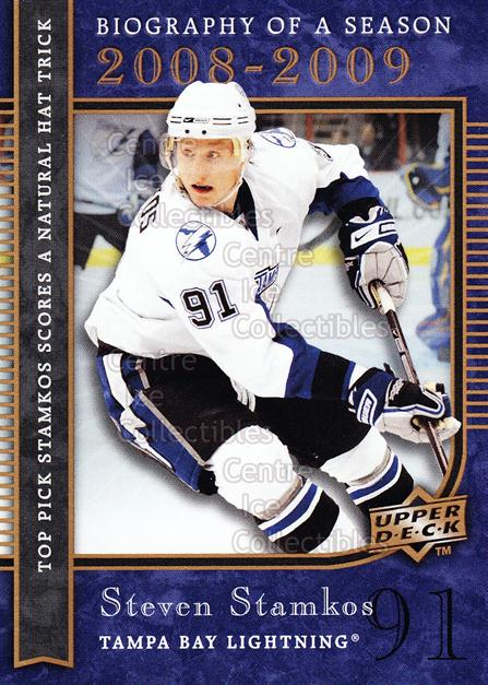 2008-09 Upper Deck Biography of a Season #28 Steven Stamkos<br/>47 In Stock - $2.00 each - <a href=https://centericecollectibles.foxycart.com/cart?name=2008-09%20Upper%20Deck%20Biography%20of%20a%20Season%20%2328%20Steven%20Stamkos...&price=$2.00&code=241065 class=foxycart> Buy it now! </a>
