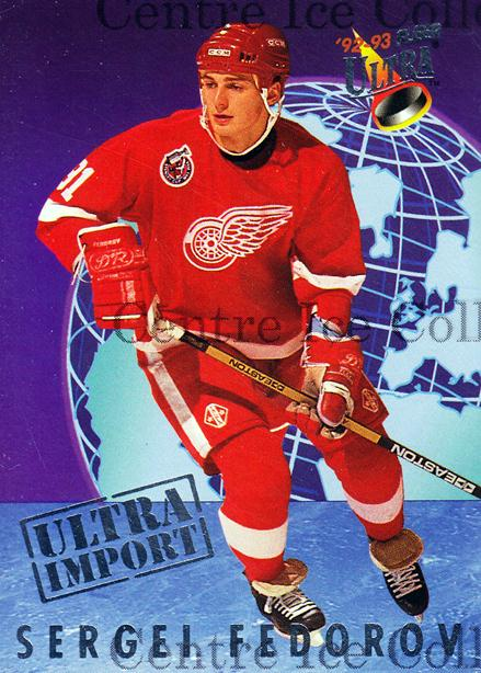 1992-93 Ultra Import #3 Sergei Fedorov<br/>7 In Stock - $2.00 each - <a href=https://centericecollectibles.foxycart.com/cart?name=1992-93%20Ultra%20Import%20%233%20Sergei%20Fedorov...&quantity_max=7&price=$2.00&code=241138 class=foxycart> Buy it now! </a>