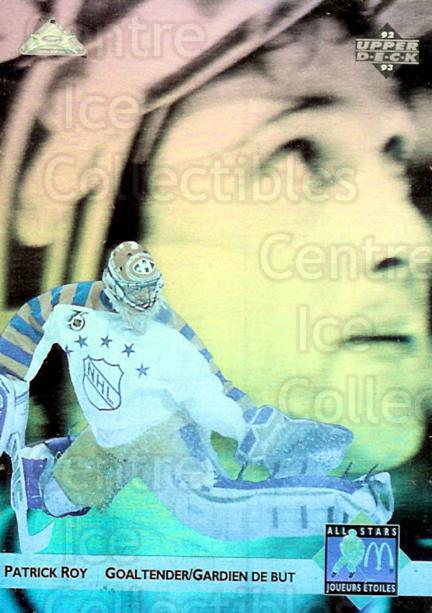 1992-93 McDonald's Upper Deck Hologram #6 Patrick Roy<br/>3 In Stock - $5.00 each - <a href=https://centericecollectibles.foxycart.com/cart?name=1992-93%20McDonald's%20Upper%20Deck%20Hologram%20%236%20Patrick%20Roy...&price=$5.00&code=241152 class=foxycart> Buy it now! </a>