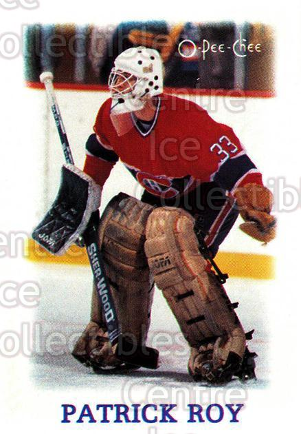 1988-89 O-Pee-Chee Minis #33 Patrick Roy<br/>7 In Stock - $3.00 each - <a href=https://centericecollectibles.foxycart.com/cart?name=1988-89%20O-Pee-Chee%20Minis%20%2333%20Patrick%20Roy...&price=$3.00&code=241223 class=foxycart> Buy it now! </a>