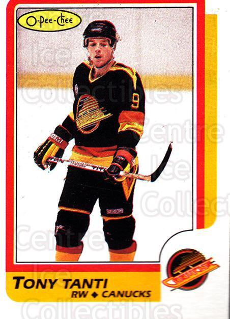 1986-87 O-Pee-Chee #120 Tony Tanti<br/>11 In Stock - $1.00 each - <a href=https://centericecollectibles.foxycart.com/cart?name=1986-87%20O-Pee-Chee%20%23120%20Tony%20Tanti...&quantity_max=11&price=$1.00&code=24161 class=foxycart> Buy it now! </a>