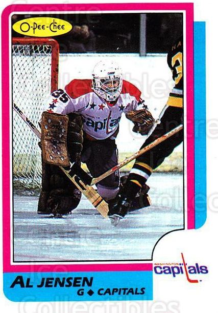 1986-87 O-Pee-Chee #135 Al Jensen<br/>3 In Stock - $1.00 each - <a href=https://centericecollectibles.foxycart.com/cart?name=1986-87%20O-Pee-Chee%20%23135%20Al%20Jensen...&quantity_max=3&price=$1.00&code=24171 class=foxycart> Buy it now! </a>
