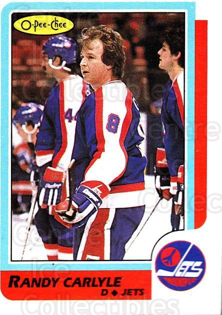 1986-87 O-Pee-Chee #144 Randy Carlyle<br/>4 In Stock - $1.00 each - <a href=https://centericecollectibles.foxycart.com/cart?name=1986-87%20O-Pee-Chee%20%23144%20Randy%20Carlyle...&quantity_max=4&price=$1.00&code=24174 class=foxycart> Buy it now! </a>