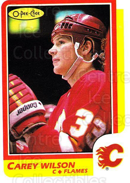 1986-87 O-Pee-Chee #166 Carey Wilson<br/>6 In Stock - $1.00 each - <a href=https://centericecollectibles.foxycart.com/cart?name=1986-87%20O-Pee-Chee%20%23166%20Carey%20Wilson...&quantity_max=6&price=$1.00&code=24188 class=foxycart> Buy it now! </a>