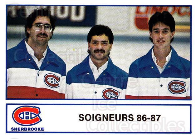 1986-87 Sherbrooke Canadiens #29 Pierre Gervais, John Shipman, Bobby Boulanger<br/>2 In Stock - $3.00 each - <a href=https://centericecollectibles.foxycart.com/cart?name=1986-87%20Sherbrooke%20Canadiens%20%2329%20Pierre%20Gervais,...&quantity_max=2&price=$3.00&code=24308 class=foxycart> Buy it now! </a>