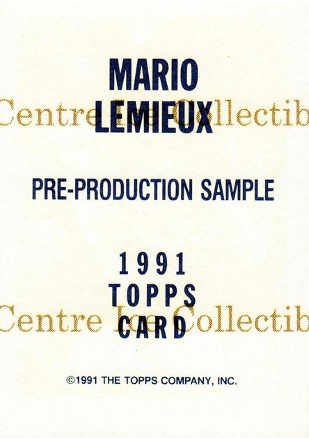 1991-92 Topps Promos #nno Mario Lemieux<br/>25 In Stock - $5.00 each - <a href=https://centericecollectibles.foxycart.com/cart?name=1991-92%20Topps%20Promos%20%23nno%20Mario%20Lemieux...&price=$5.00&code=243431 class=foxycart> Buy it now! </a>