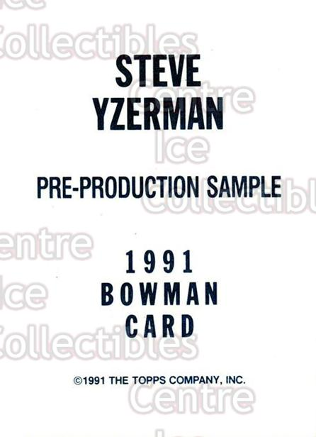 1991-92 Bowman Promos #nno Steve Yzerman<br/>24 In Stock - $5.00 each - <a href=https://centericecollectibles.foxycart.com/cart?name=1991-92%20Bowman%20Promos%20%23nno%20Steve%20Yzerman...&price=$5.00&code=243433 class=foxycart> Buy it now! </a>