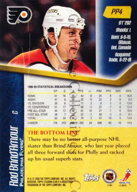 1999-00 Stadium Club Promos #4 Rod Brind'Amour<br/>10 In Stock - $3.00 each - <a href=https://centericecollectibles.foxycart.com/cart?name=1999-00%20Stadium%20Club%20Promos%20%234%20Rod%20Brind'Amour...&quantity_max=10&price=$3.00&code=243448 class=foxycart> Buy it now! </a>