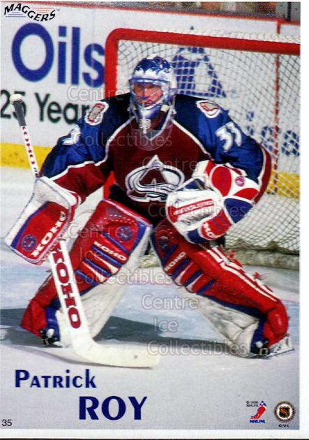 1996 Maggers Promos Magnets #35 Patrick Roy<br/>6 In Stock - $5.00 each - <a href=https://centericecollectibles.foxycart.com/cart?name=1996%20Maggers%20Promos%20Magnets%20%2335%20Patrick%20Roy...&quantity_max=6&price=$5.00&code=243475 class=foxycart> Buy it now! </a>