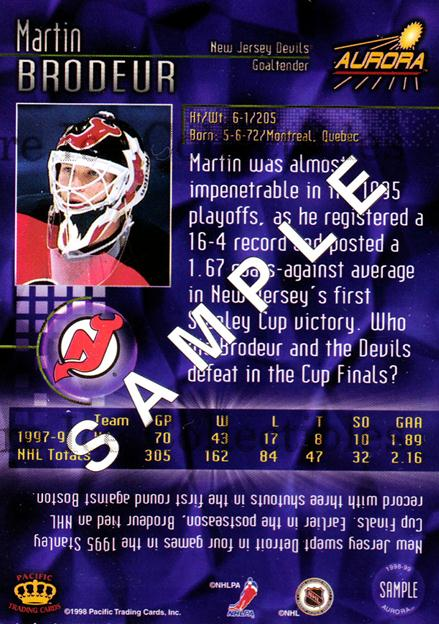 1998-99 Aurora Promos Sample #1 Martin Brodeur<br/>2 In Stock - $3.00 each - <a href=https://centericecollectibles.foxycart.com/cart?name=1998-99%20Aurora%20Promos%20Sample%20%231%20Martin%20Brodeur...&price=$3.00&code=243573 class=foxycart> Buy it now! </a>