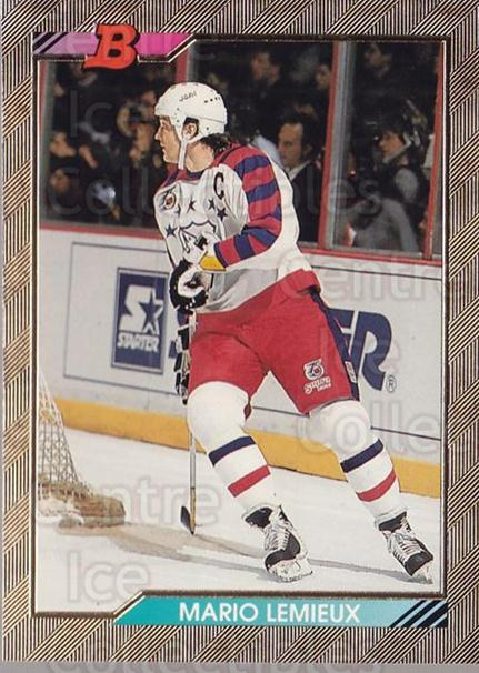 1992-93 Bowman #233 Mario Lemieux<br/>1 In Stock - $3.00 each - <a href=https://centericecollectibles.foxycart.com/cart?name=1992-93%20Bowman%20%23233%20Mario%20Lemieux...&price=$3.00&code=244585 class=foxycart> Buy it now! </a>
