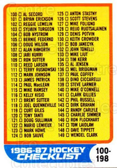 1986-87 Topps #198 Checklist<br/>4 In Stock - $1.00 each - <a href=https://centericecollectibles.foxycart.com/cart?name=1986-87%20Topps%20%23198%20Checklist...&quantity_max=4&price=$1.00&code=24476 class=foxycart> Buy it now! </a>