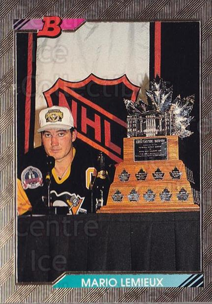 1992-93 Bowman #440 Mario Lemieux, Conn Smythe Trophy<br/>14 In Stock - $3.00 each - <a href=https://centericecollectibles.foxycart.com/cart?name=1992-93%20Bowman%20%23440%20Mario%20Lemieux,%20...&price=$3.00&code=244792 class=foxycart> Buy it now! </a>