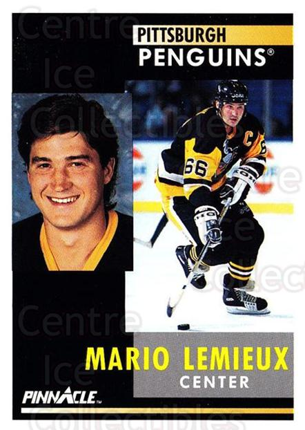 1991-92 Pinnacle #1 Mario Lemieux<br/>4 In Stock - $2.00 each - <a href=https://centericecollectibles.foxycart.com/cart?name=1991-92%20Pinnacle%20%231%20Mario%20Lemieux...&price=$2.00&code=245295 class=foxycart> Buy it now! </a>