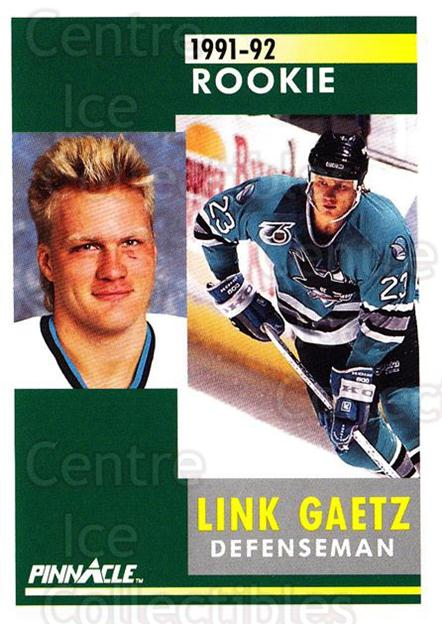 1991-92 Pinnacle #339 Link Gaetz<br/>7 In Stock - $1.00 each - <a href=https://centericecollectibles.foxycart.com/cart?name=1991-92%20Pinnacle%20%23339%20Link%20Gaetz...&quantity_max=7&price=$1.00&code=245633 class=foxycart> Buy it now! </a>