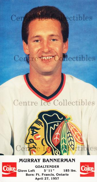 1987-88 Chicago Blackhawks Postcards Coke #1 Murray Bannerman<br/>1 In Stock - $3.00 each - <a href=https://centericecollectibles.foxycart.com/cart?name=1987-88%20Chicago%20Blackhawks%20Postcards%20Coke%20%231%20Murray%20Bannerma...&quantity_max=1&price=$3.00&code=24565 class=foxycart> Buy it now! </a>