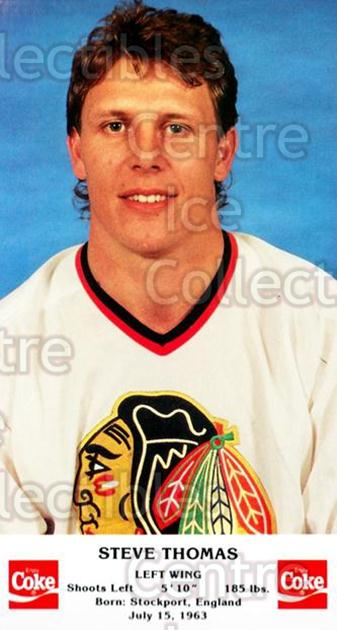 1987-88 Chicago Blackhawks Postcards Coke #24 Steve Thomas<br/>9 In Stock - $3.00 each - <a href=https://centericecollectibles.foxycart.com/cart?name=1987-88%20Chicago%20Blackhawks%20Postcards%20Coke%20%2324%20Steve%20Thomas...&quantity_max=9&price=$3.00&code=24579 class=foxycart> Buy it now! </a>