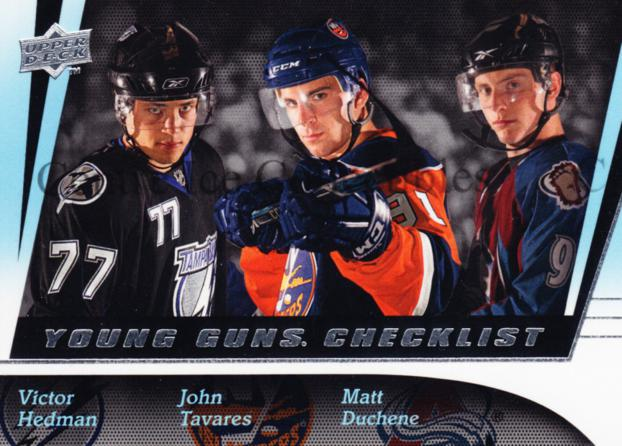 2009-10 Upper Deck #250 Matt Duchene, Victor Hedman, John Tavares, Checklist<br/>1 In Stock - $10.00 each - <a href=https://centericecollectibles.foxycart.com/cart?name=2009-10%20Upper%20Deck%20%23250%20Matt%20Duchene,%20V...&quantity_max=1&price=$10.00&code=247580 class=foxycart> Buy it now! </a>