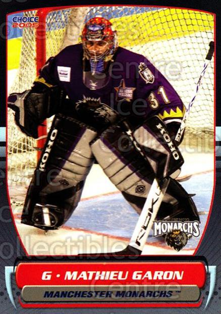 2004-05 Manchester Monarchs #13 Mathieu Garon<br/>3 In Stock - $3.00 each - <a href=https://centericecollectibles.foxycart.com/cart?name=2004-05%20Manchester%20Monarchs%20%2313%20Mathieu%20Garon...&quantity_max=3&price=$3.00&code=247843 class=foxycart> Buy it now! </a>